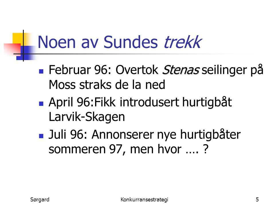 Noen av Sundes trekk Februar 96: Overtok Stenas seilinger på Moss straks de la ned. April 96:Fikk introdusert hurtigbåt Larvik-Skagen.