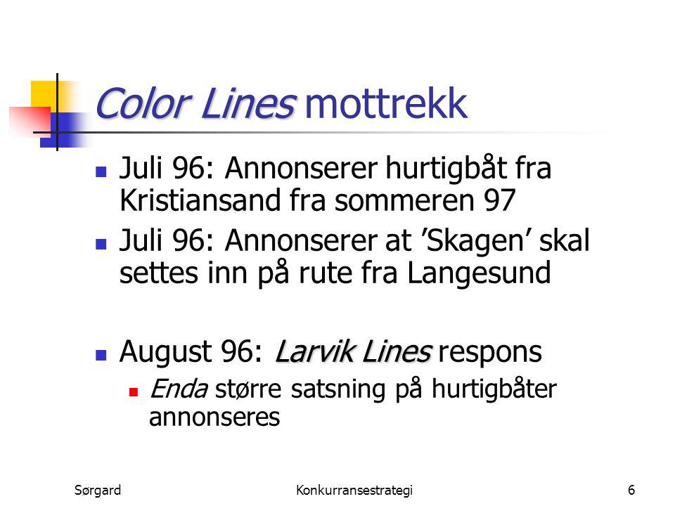 Color Lines mottrekk Juli 96: Annonserer hurtigbåt fra Kristiansand fra sommeren 97.