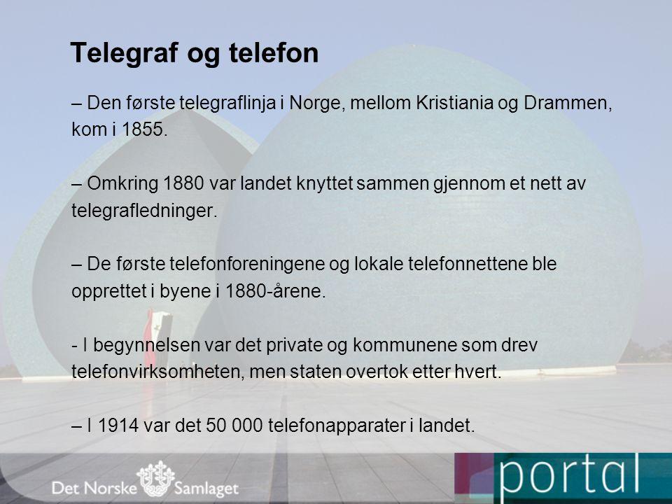 Telegraf og telefon – Den første telegraflinja i Norge, mellom Kristiania og Drammen, kom i 1855.