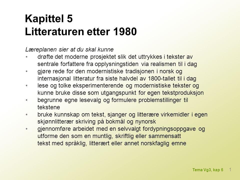 Kapittel 5 Litteraturen etter 1980 Læreplanen sier at du skal kunne