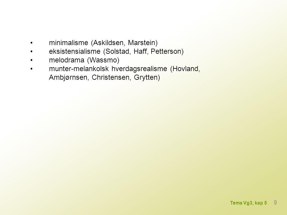 • minimalisme (Askildsen, Marstein)