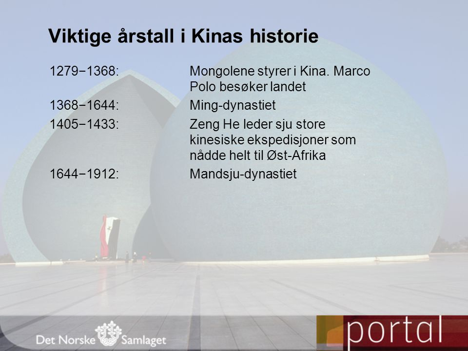 Viktige årstall i Kinas historie