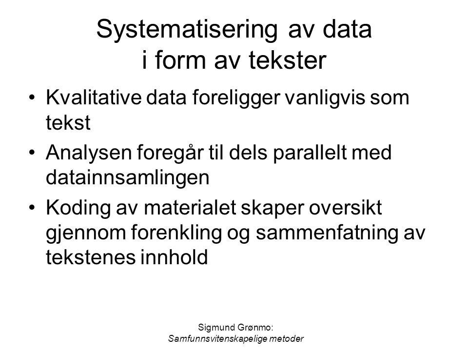 Systematisering av data i form av tekster