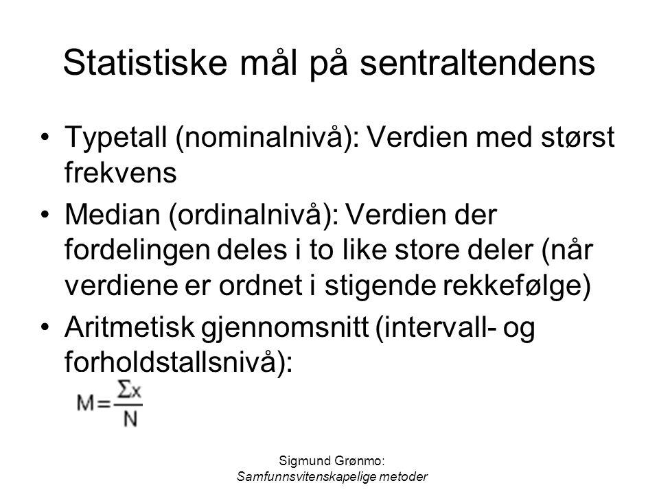 Statistiske mål på sentraltendens