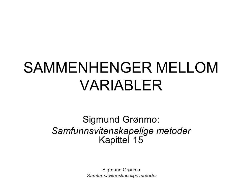 SAMMENHENGER MELLOM VARIABLER