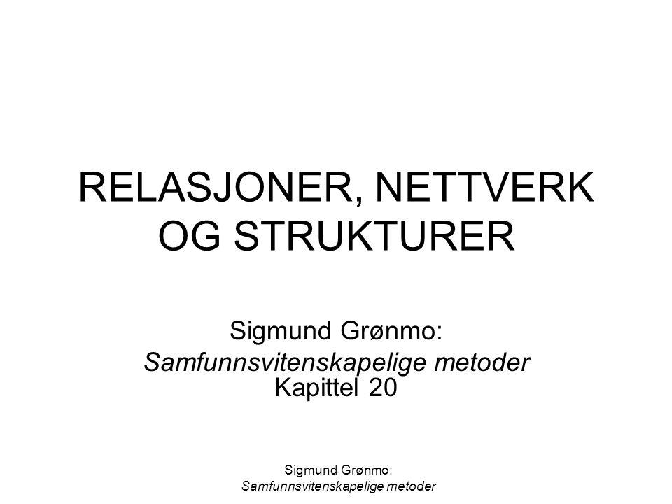 RELASJONER, NETTVERK OG STRUKTURER