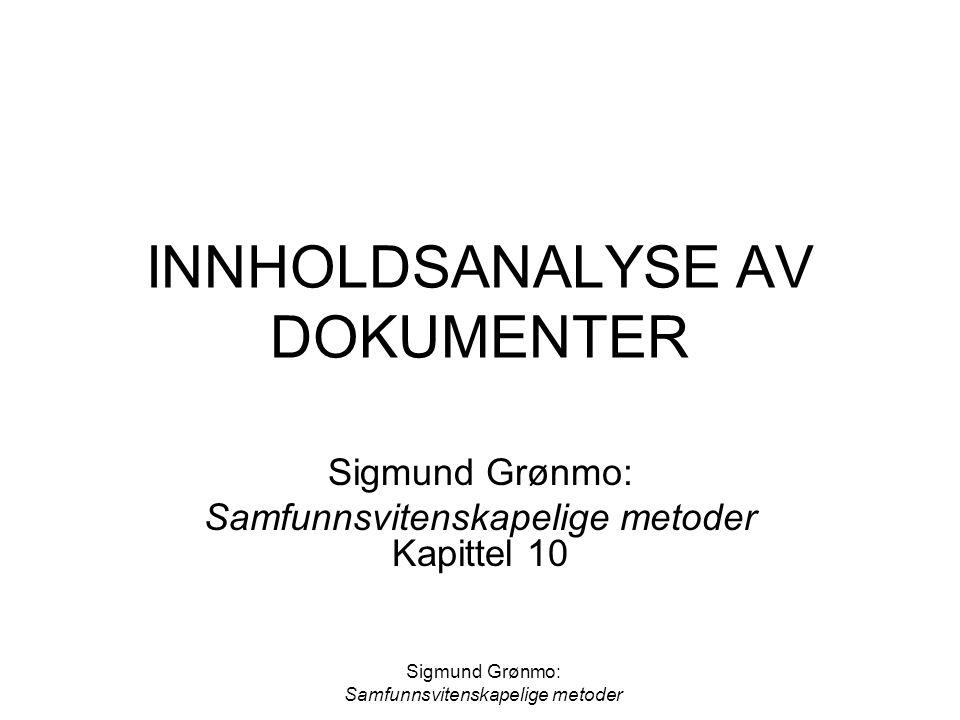 INNHOLDSANALYSE AV DOKUMENTER