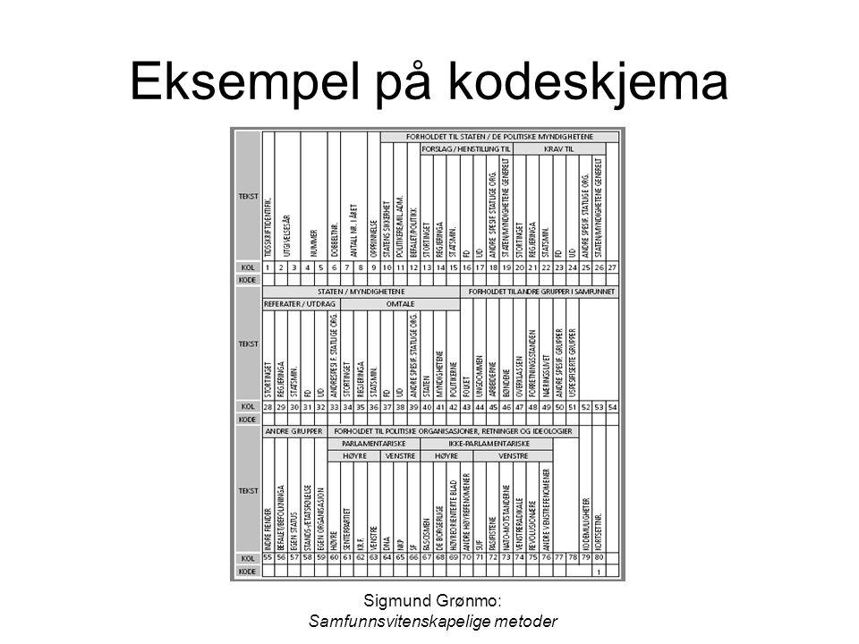 Eksempel på kodeskjema