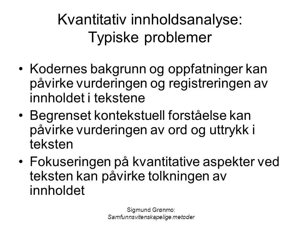 Kvantitativ innholdsanalyse: Typiske problemer