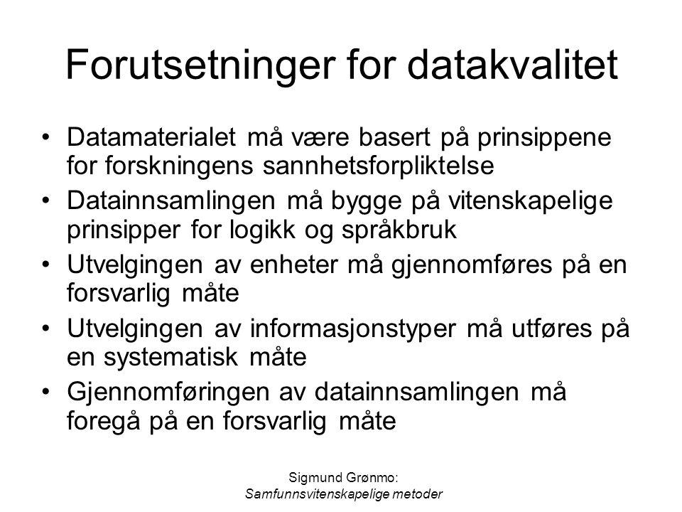 Forutsetninger for datakvalitet