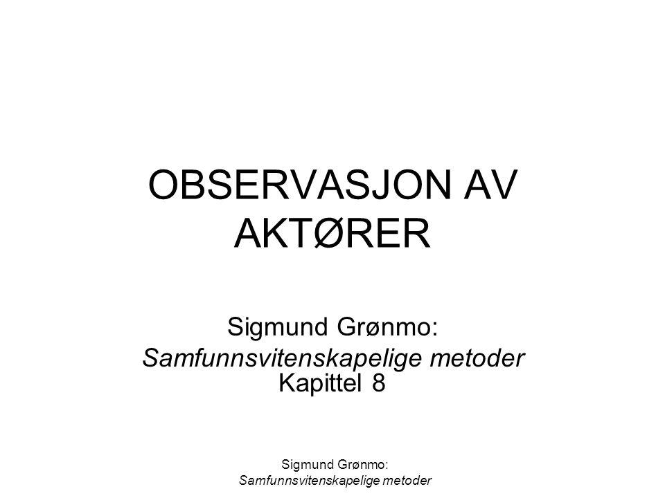 OBSERVASJON AV AKTØRER