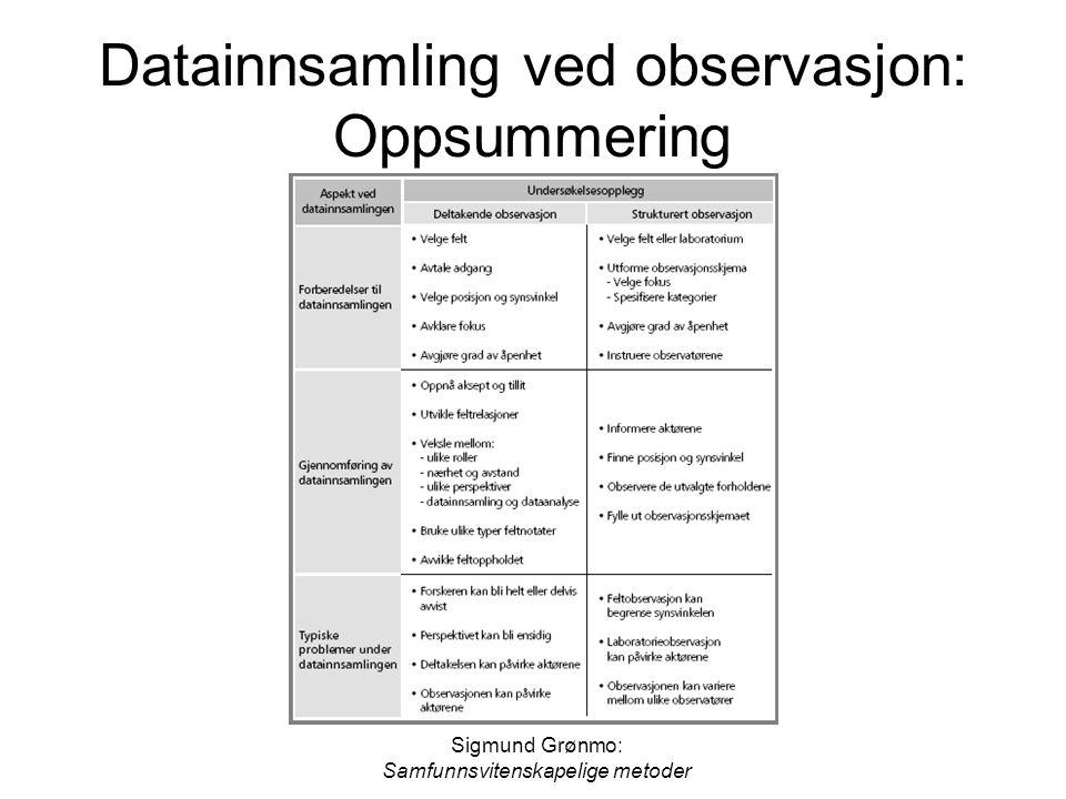 Datainnsamling ved observasjon: Oppsummering