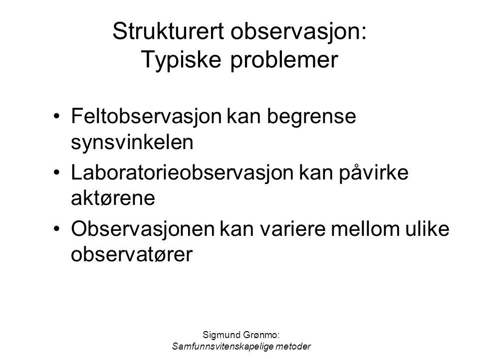 Strukturert observasjon: Typiske problemer