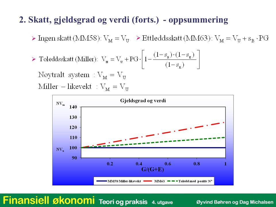 2. Skatt, gjeldsgrad og verdi (forts.) - oppsummering