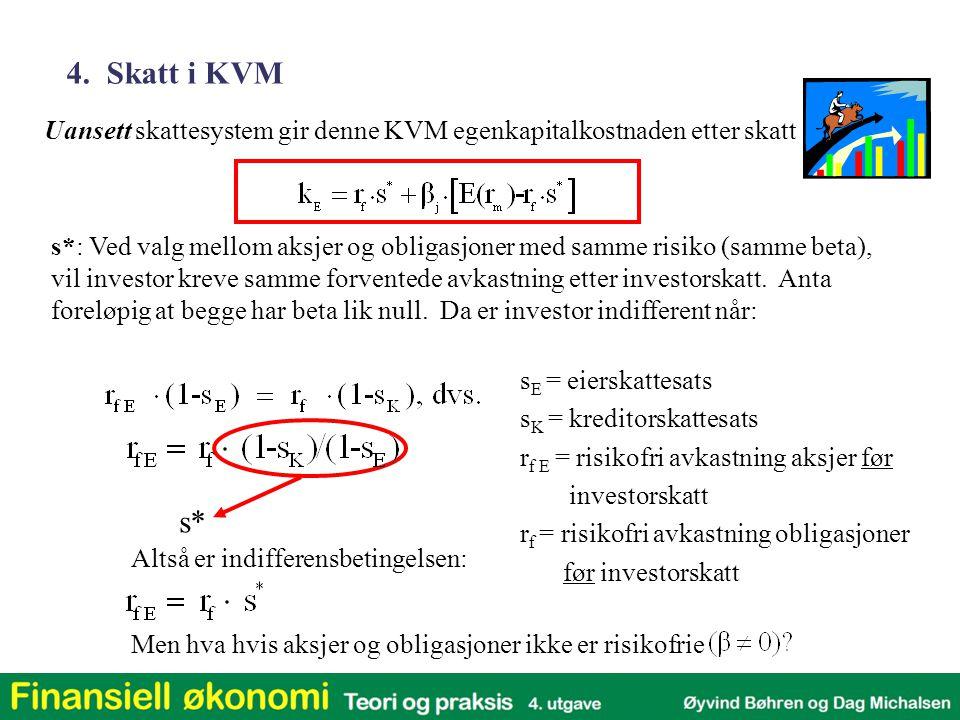 4. Skatt i KVM Uansett skattesystem gir denne KVM egenkapitalkostnaden etter skatt.