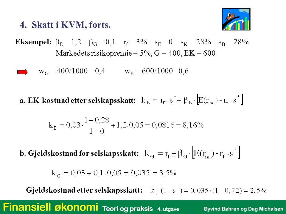 4. Skatt i KVM, forts. Eksempel: bE = 1,2 bG = 0,1 rf = 3% sE = 0 sK = 28% sB = 28%