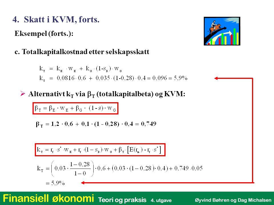 4. Skatt i KVM, forts. Eksempel (forts.):