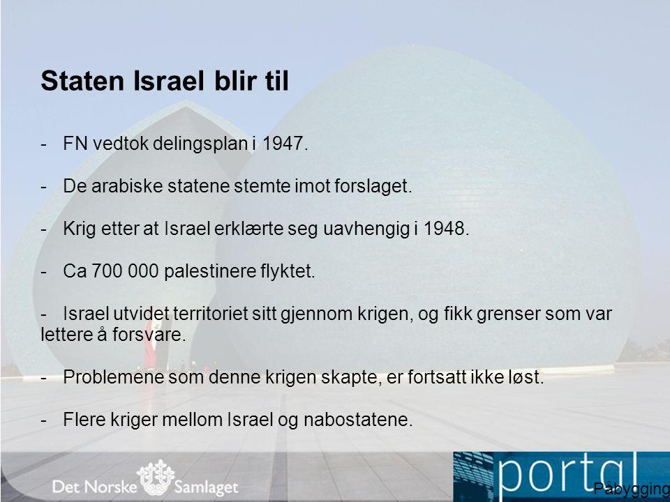 Staten Israel blir til FN vedtok delingsplan i 1947.