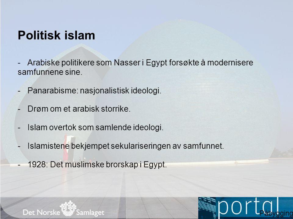 Politisk islam Arabiske politikere som Nasser i Egypt forsøkte å modernisere samfunnene sine. Panarabisme: nasjonalistisk ideologi.