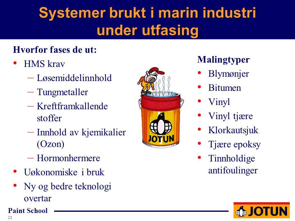 Systemer brukt i marin industri under utfasing