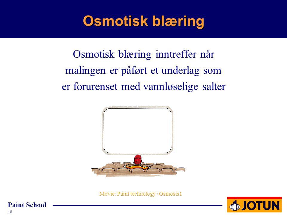 Osmotisk blæring Osmotisk blæring inntreffer når