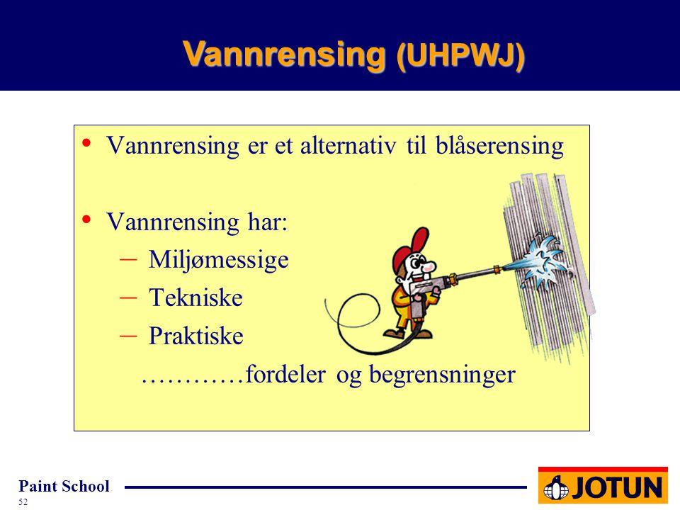Vannrensing (UHPWJ) Vannrensing er et alternativ til blåserensing