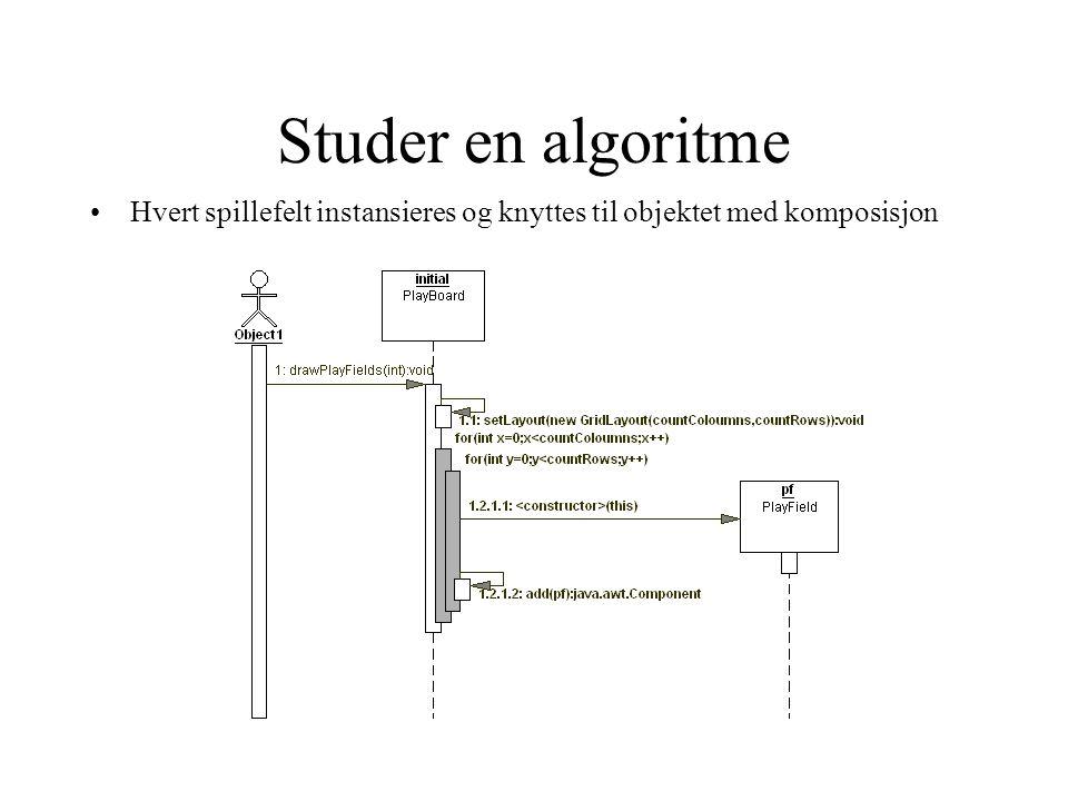 Studer en algoritme Hvert spillefelt instansieres og knyttes til objektet med komposisjon