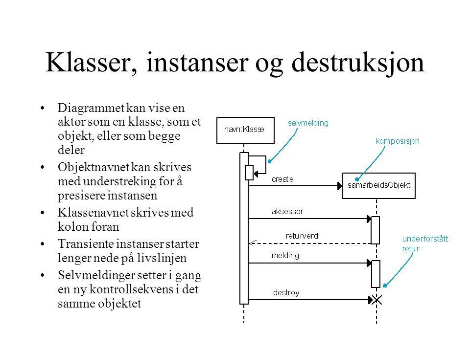 Klasser, instanser og destruksjon