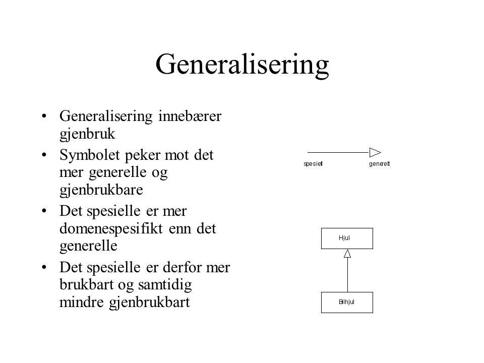 Generalisering Generalisering innebærer gjenbruk