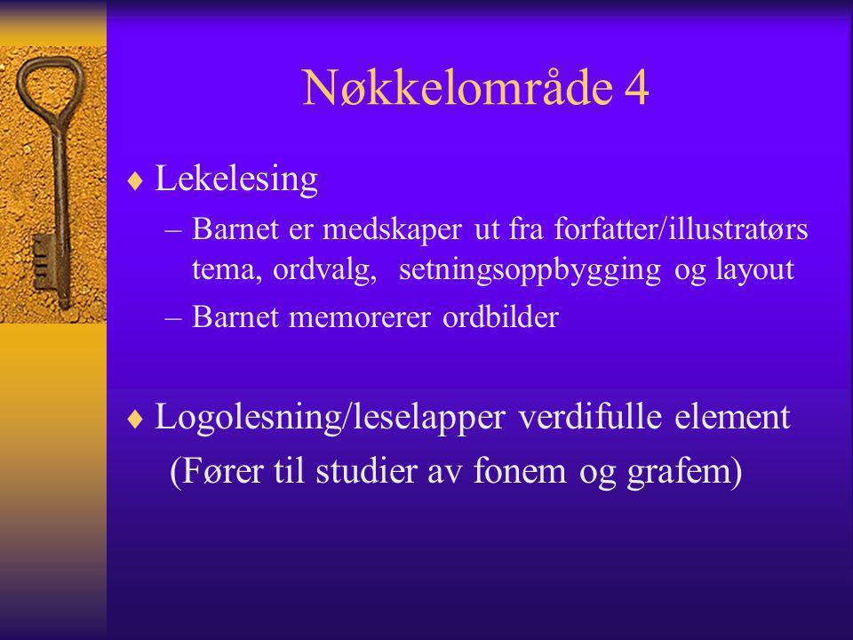 Nøkkelområde 4 Lekelesing Logolesning/leselapper verdifulle element