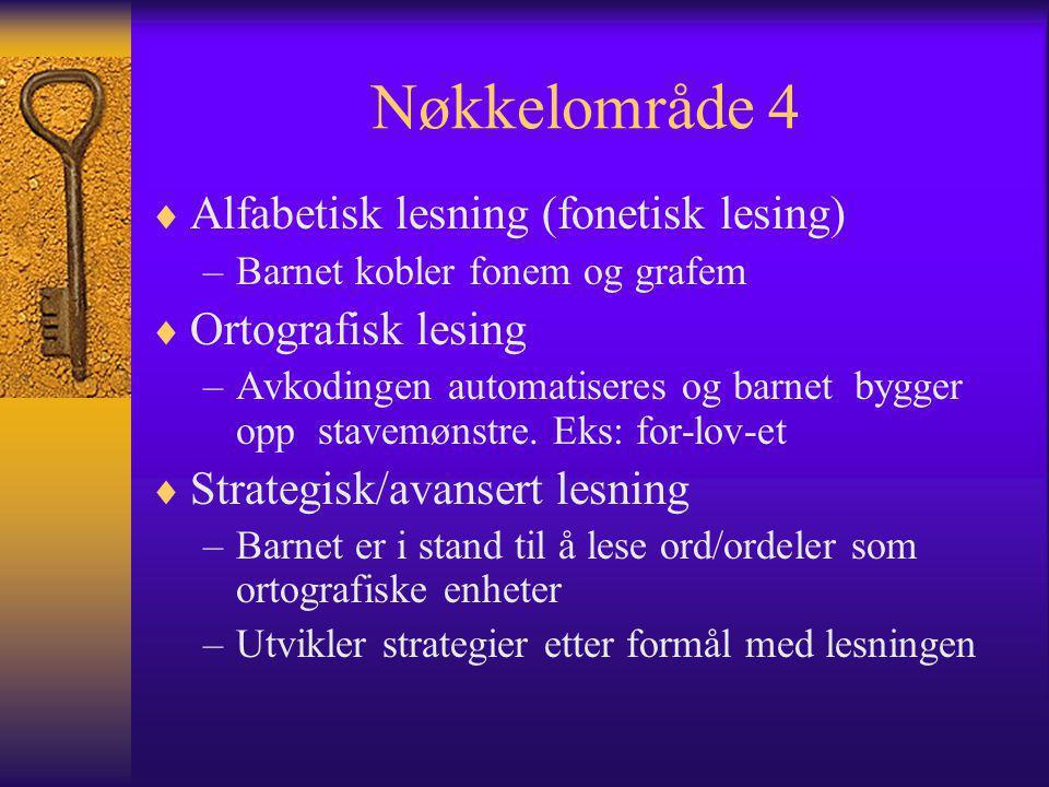 Nøkkelområde 4 Alfabetisk lesning (fonetisk lesing) Ortografisk lesing