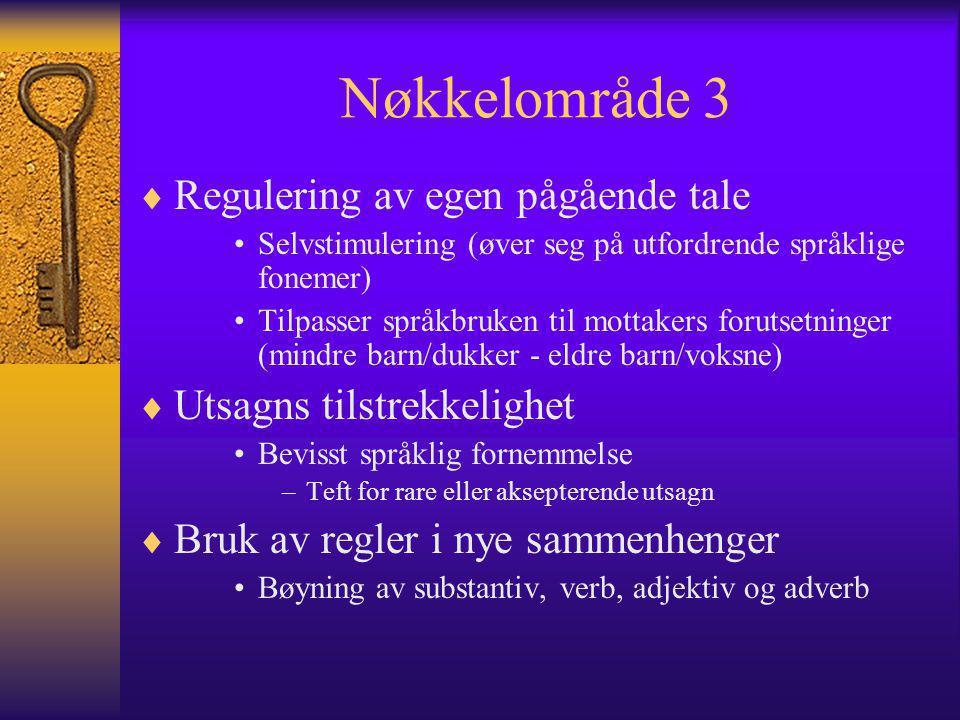 Nøkkelområde 3 Regulering av egen pågående tale
