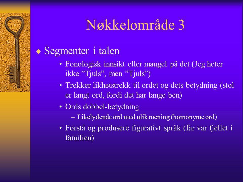 Nøkkelområde 3 Segmenter i talen