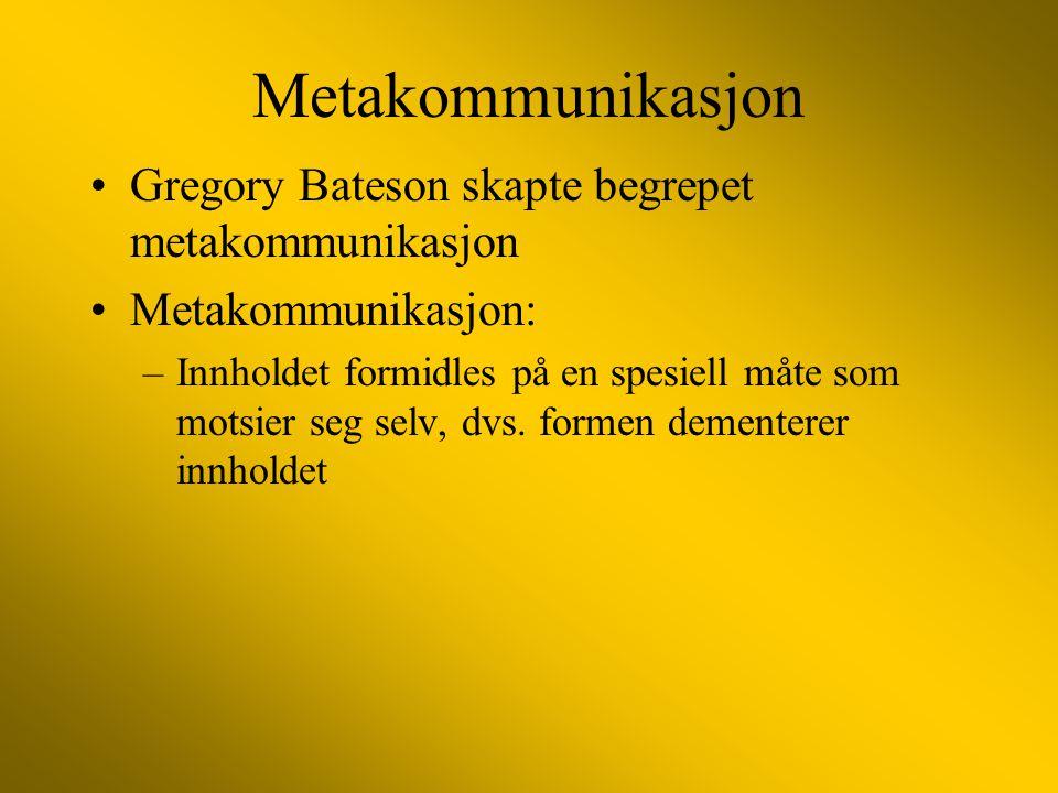 Metakommunikasjon Gregory Bateson skapte begrepet metakommunikasjon