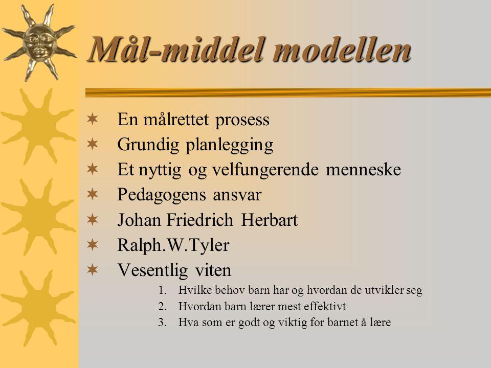 Mål-middel modellen En målrettet prosess Grundig planlegging