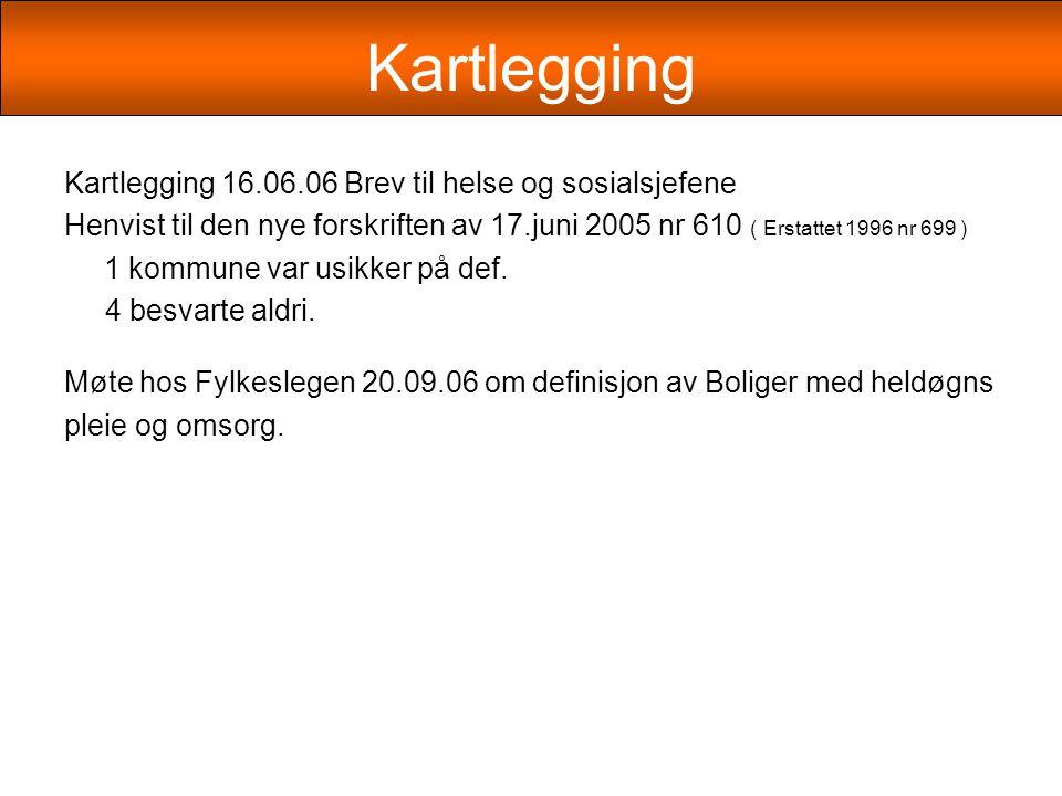 Kartlegging Kartlegging 16.06.06 Brev til helse og sosialsjefene