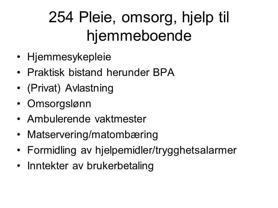 254 Pleie, omsorg, hjelp til hjemmeboende
