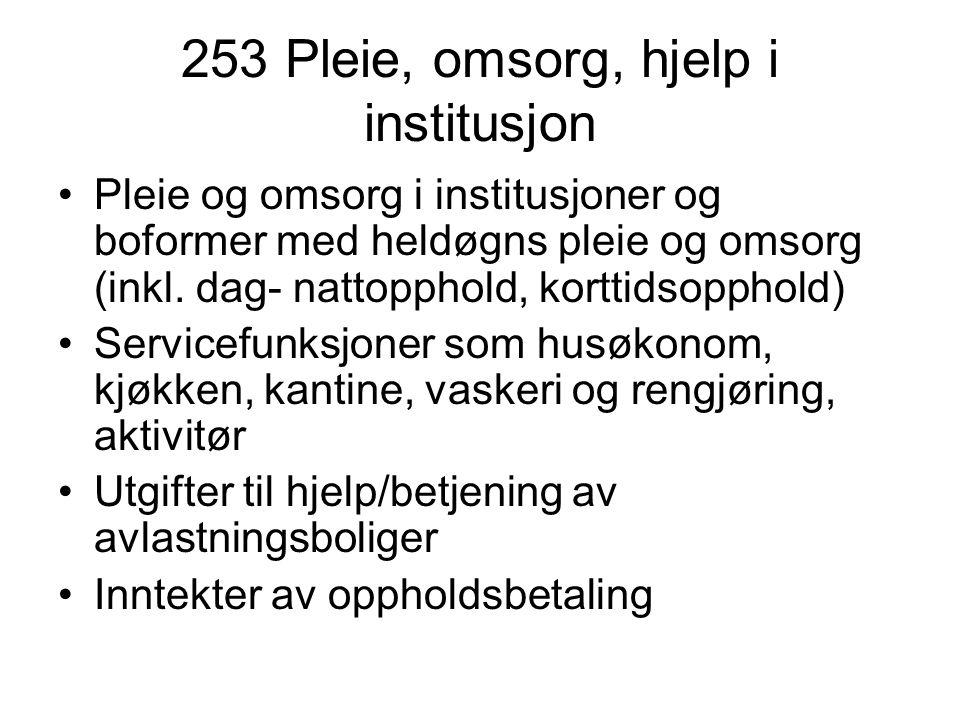 253 Pleie, omsorg, hjelp i institusjon