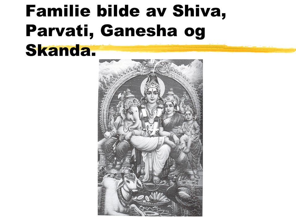 Familie bilde av Shiva, Parvati, Ganesha og Skanda.