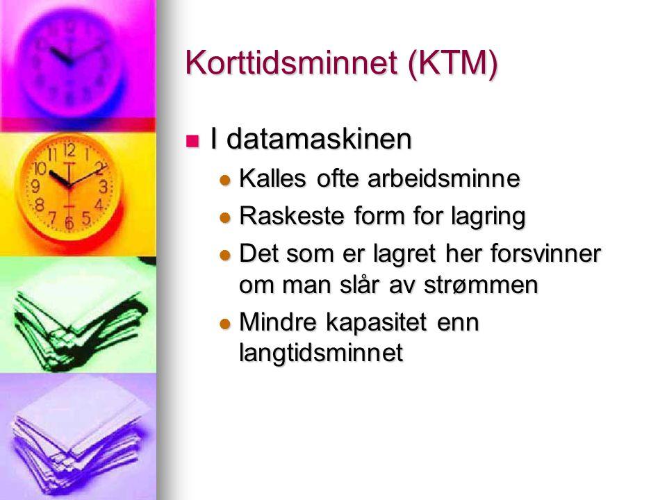 Korttidsminnet (KTM) I datamaskinen Kalles ofte arbeidsminne