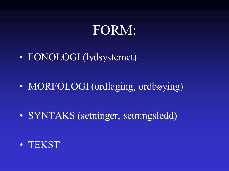 FORM: FONOLOGI (lydsystemet) MORFOLOGI (ordlaging, ordbøying)