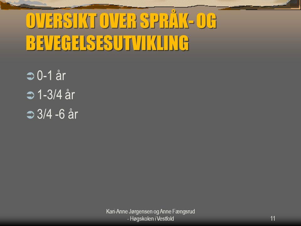OVERSIKT OVER SPRÅK- OG BEVEGELSESUTVIKLING