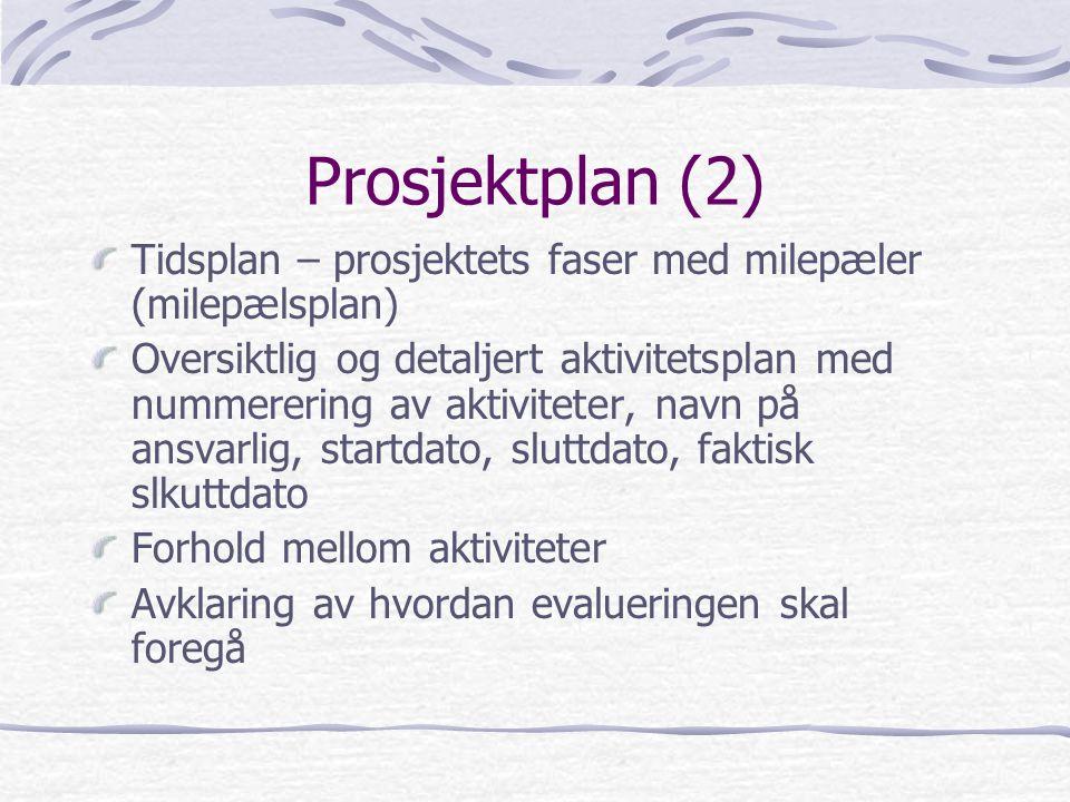 Prosjektplan (2) Tidsplan – prosjektets faser med milepæler (milepælsplan)