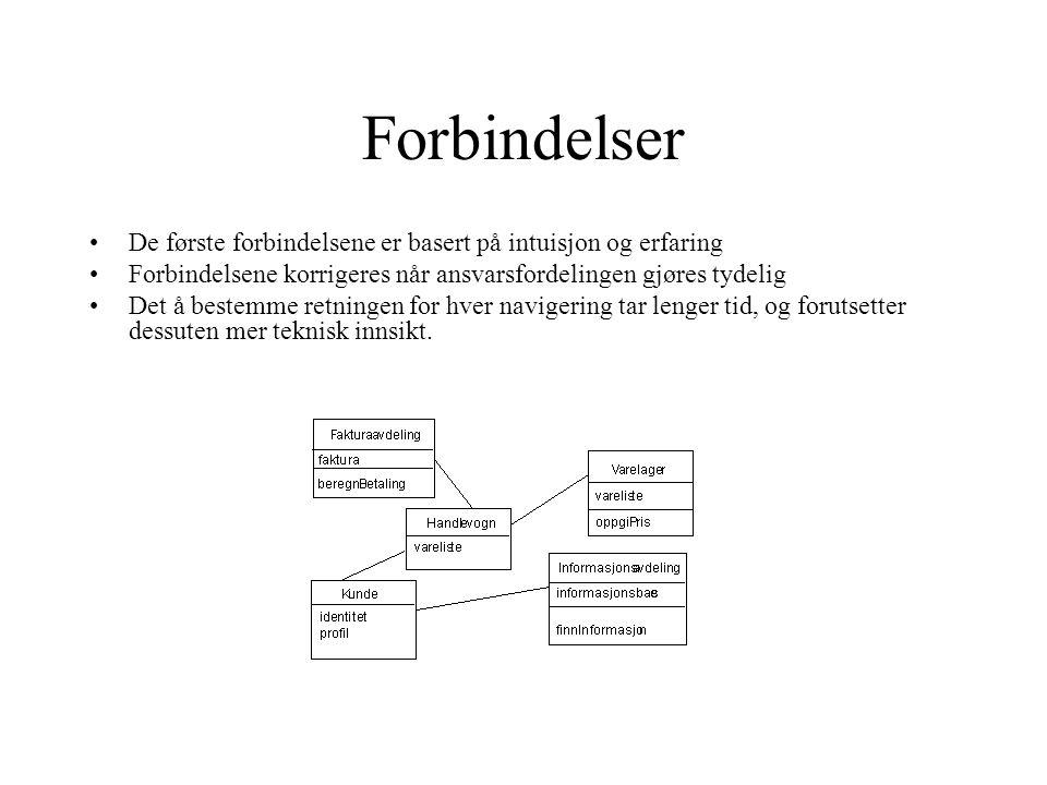 Forbindelser De første forbindelsene er basert på intuisjon og erfaring. Forbindelsene korrigeres når ansvarsfordelingen gjøres tydelig.