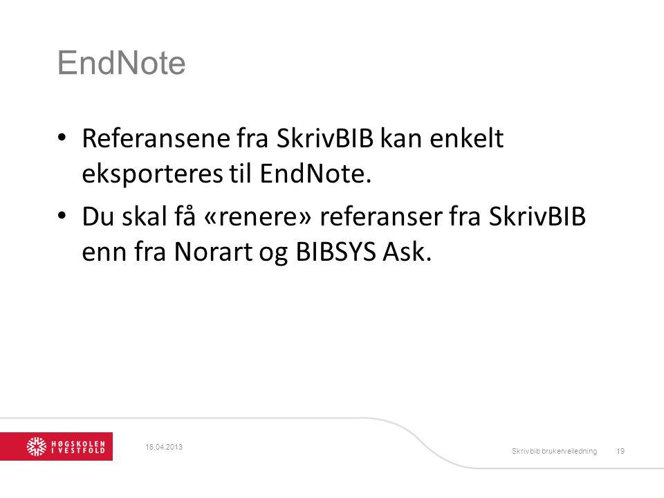 EndNote Referansene fra SkrivBIB kan enkelt eksporteres til EndNote.