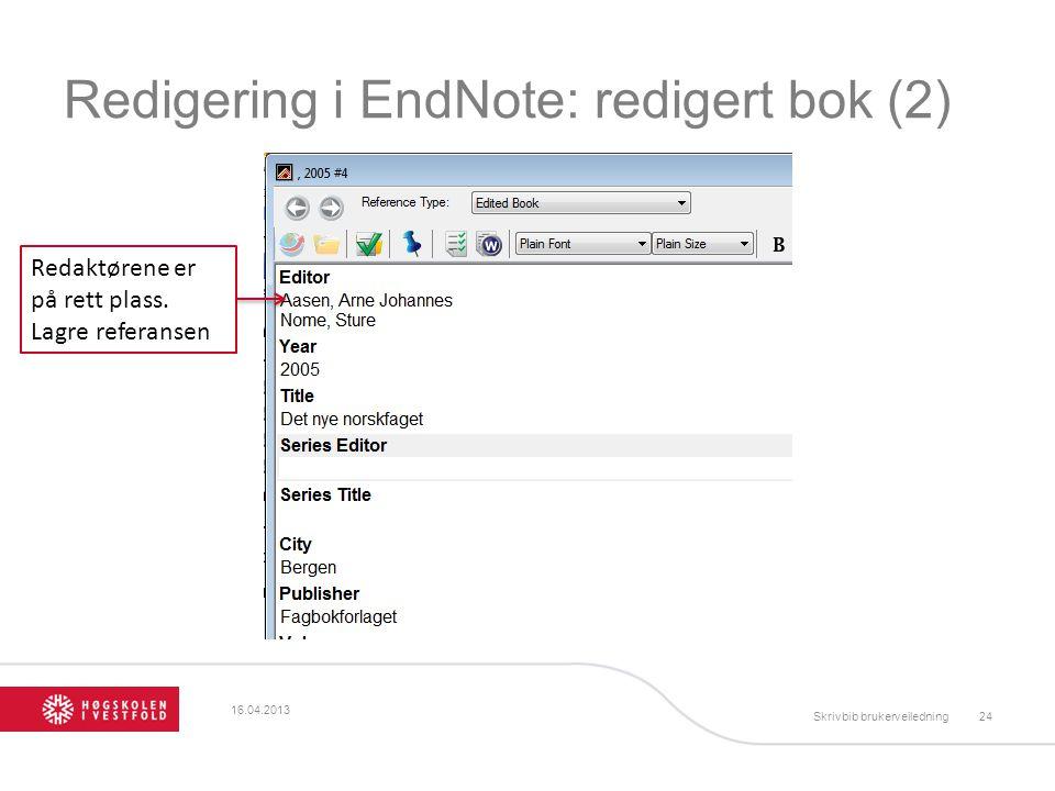 Redigering i EndNote: redigert bok (2)
