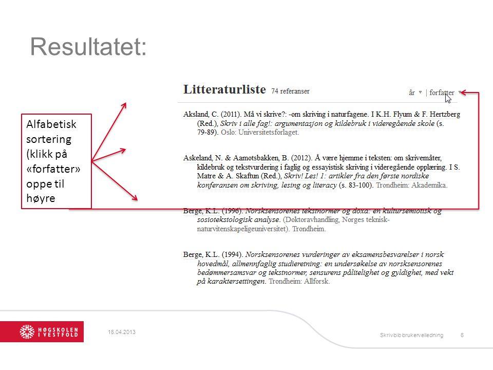 Resultatet: Alfabetisk sortering (klikk på «forfatter» oppe til høyre
