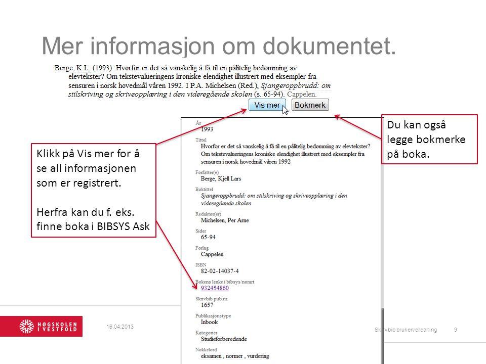 Mer informasjon om dokumentet.