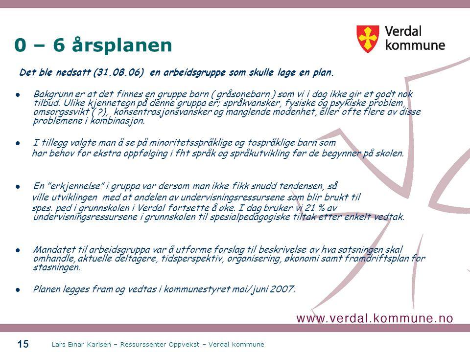 0 – 6 årsplanen Det ble nedsatt (31.08.06) en arbeidsgruppe som skulle lage en plan.