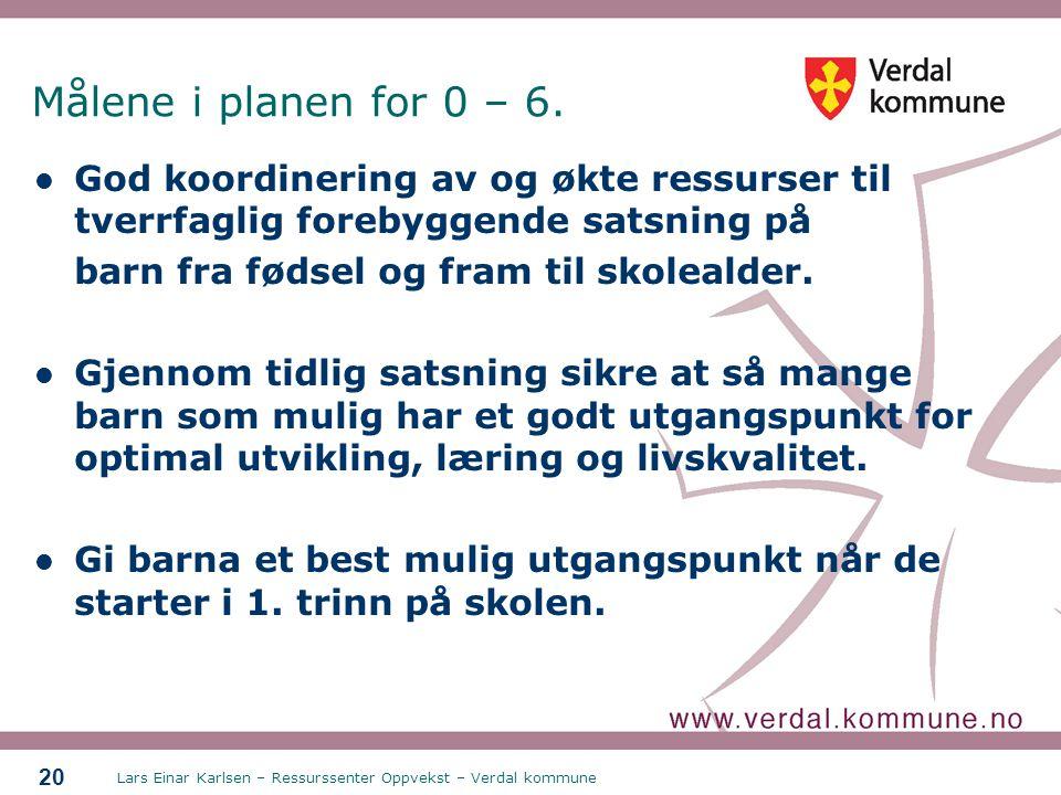 Målene i planen for 0 – 6. God koordinering av og økte ressurser til tverrfaglig forebyggende satsning på.